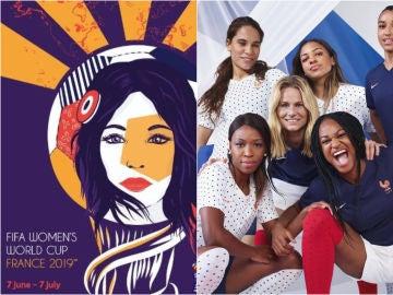 Cartel del Mundial de Francia y equipación de la selección gala