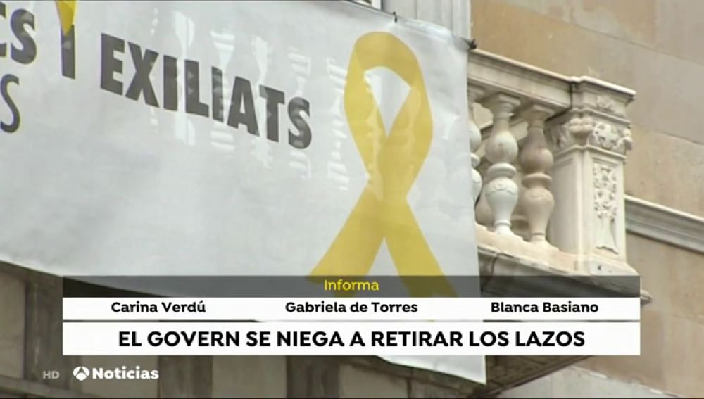 Torra mantiene el lazo amarillo en la Generalitat y envía un escrito a la Junta Electoral