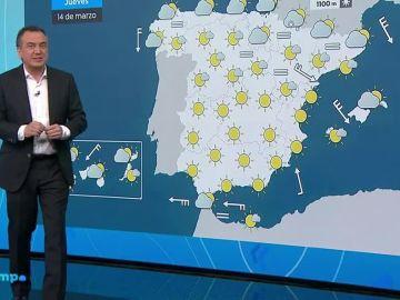 Vuelven a subir las temperaturas en un día de vientos fuertes en el norte peninsular