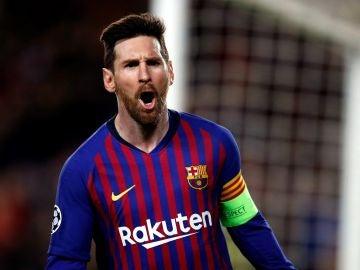 Leo Messi celebra un gol ante el Olympique de Lyon