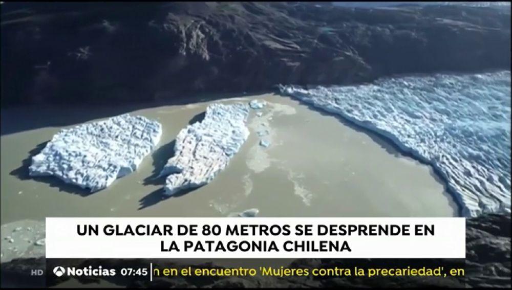 Un glaciar de 80 metros se desprende en la Patagonia chilena