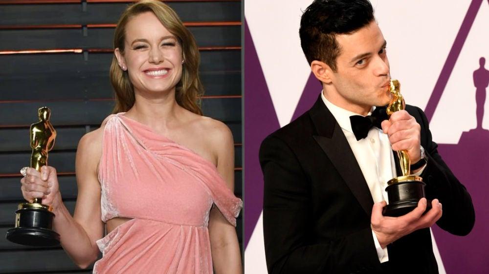 Brie Larson y Rami Malek con sus Oscar