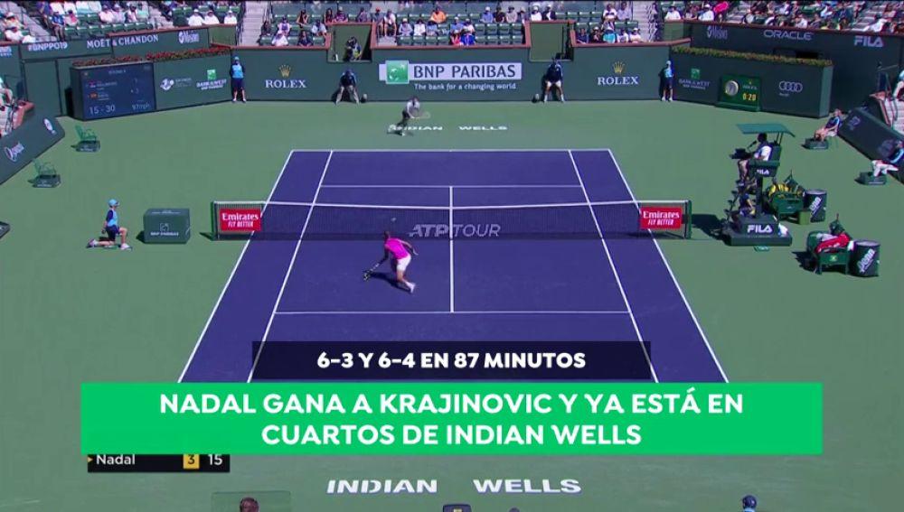 Nadal sigue firme en Indian Wells y se mete en cuartos tras ganar en dos sets a Filip Krajinovic