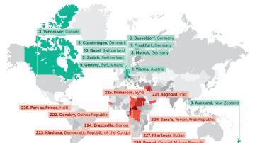 Mapa de las mejores y peores ciudades del mundo para vivir