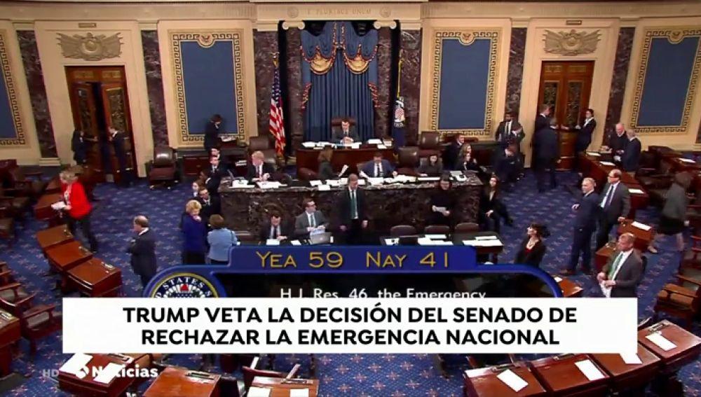 Trump veta la decisión del Senado de rechazar la emergencia nacional