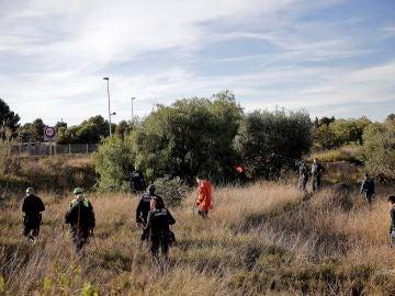 Momento de la búsqueda de los dos niños asesinados en Godella