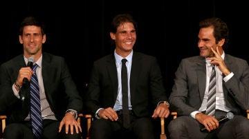 Djokovic, Nadal y Federer en un evento