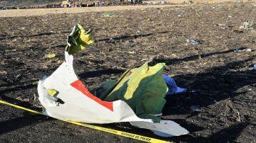 Restos del avión de Ethiopian Airlines que se estrelló