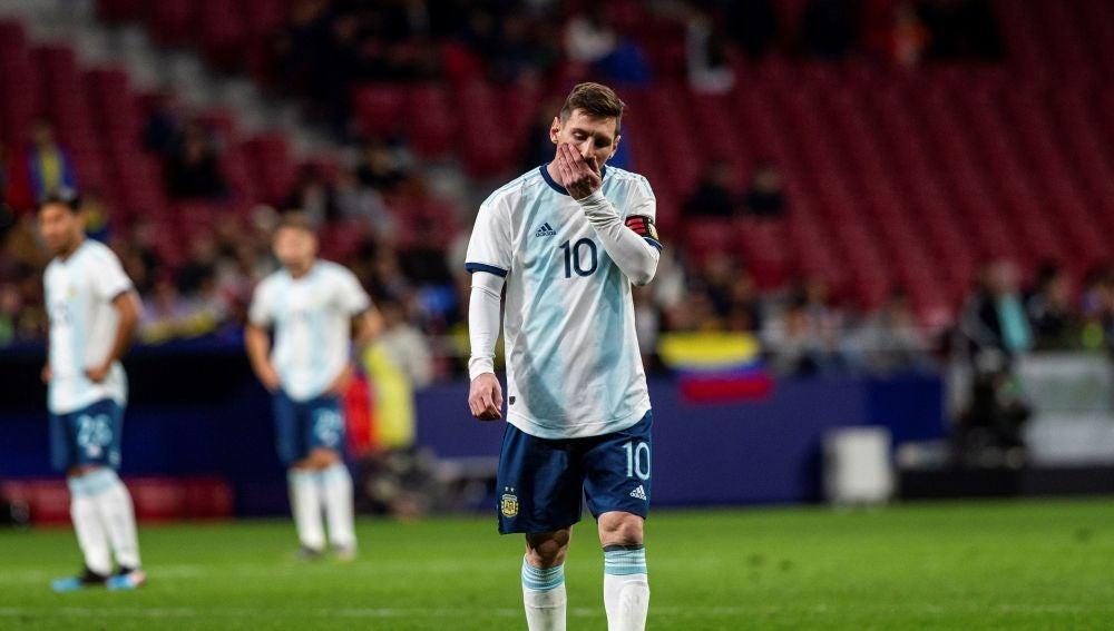 Leo Messi, en el partido de Argentina en el Wanda ante Venezuela