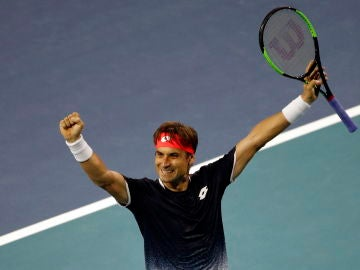 David Ferrer celebra su victoria ante Alexander Zverev