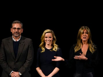 Jennifer Aniston, Steve Carell y  Reese Witherspoon en la presentación de Apple TV+