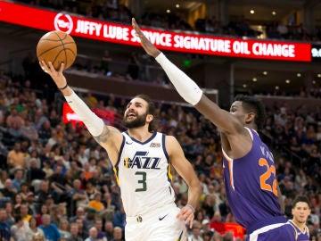 Ricky Rubio, en acción contra los Utah Jazz