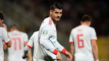 Morata celebra su gol con la Selección.