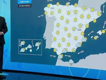 Cielo despejado excepto en Canarias, donde se mantienen las lluvias