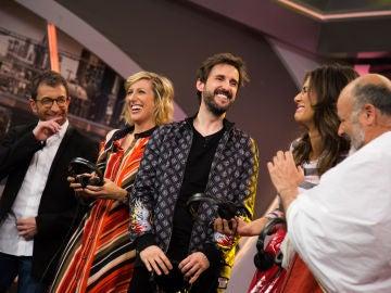 Julián López y Cecilia Freire jugan con Pablo Motos y Nuria Roca en 'El Hormiguero 3.0' al teléfono escacharrado... ¡en latín!