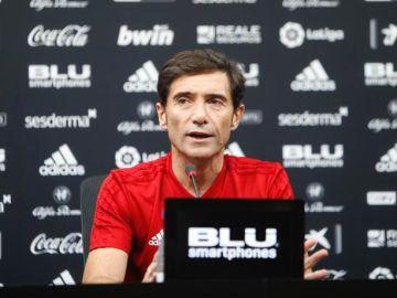 El entrenador del Valencia CF, Marcelino García Toral en rueda de prensa
