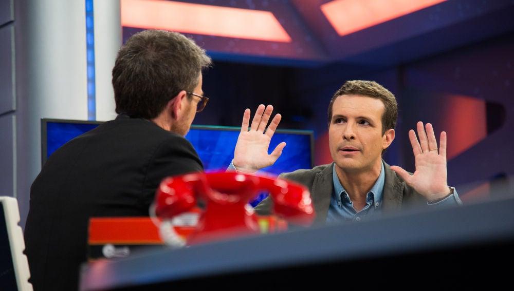 """Pablo Casado opina en 'El Hormiguero 3.0' sobre ilegalizar los partidos independentistas: """"Ilegalizas a quien alienta la violencia"""""""