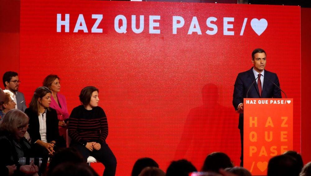 Pedro Sánchez presenta el lema de la campaña