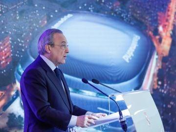 Florentino Pérez, durante la presentación del nuevo Santiago Bernabéu