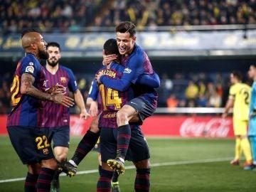 Coutinho celebra su gol ante el Villarreal