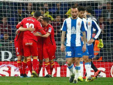 El Getafe celebra el gol del empate