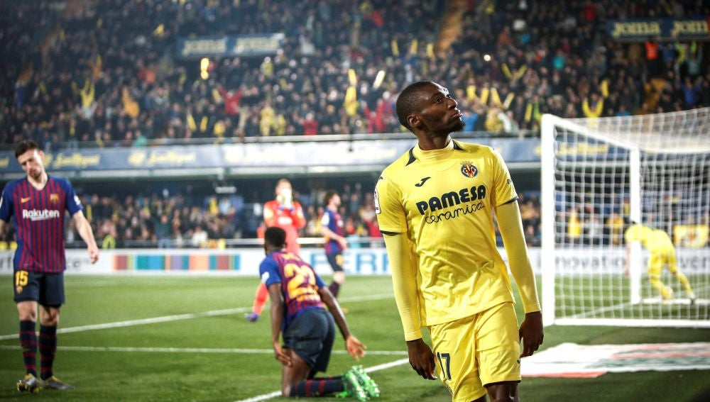 Ekambi celebra un gol ante el Barcelona