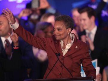 Lori Lightfoot, tras proclamarse ganadora de las elecciones a la alcaldía.
