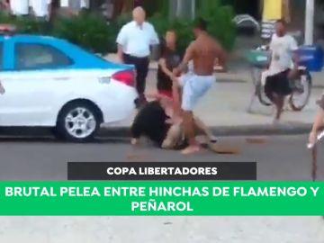 Brutal pelea entre hinchas de Flamengo y Peñarol