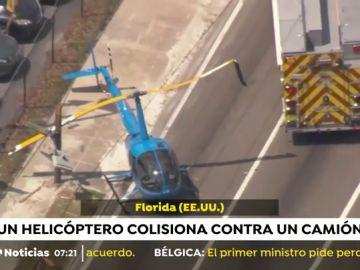 Un camionero muere tras colisionar con un helicóptero