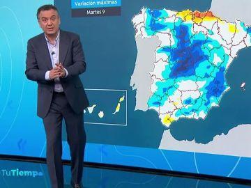 Un nuevo frente dejará más lluvias por el norte y y un desplome de las temperaturas
