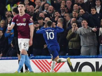 Hazard celebra un gol ante el West Ham