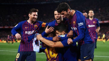 El Barcelona celebra un gol