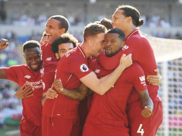 El Liverpool celebra un gol