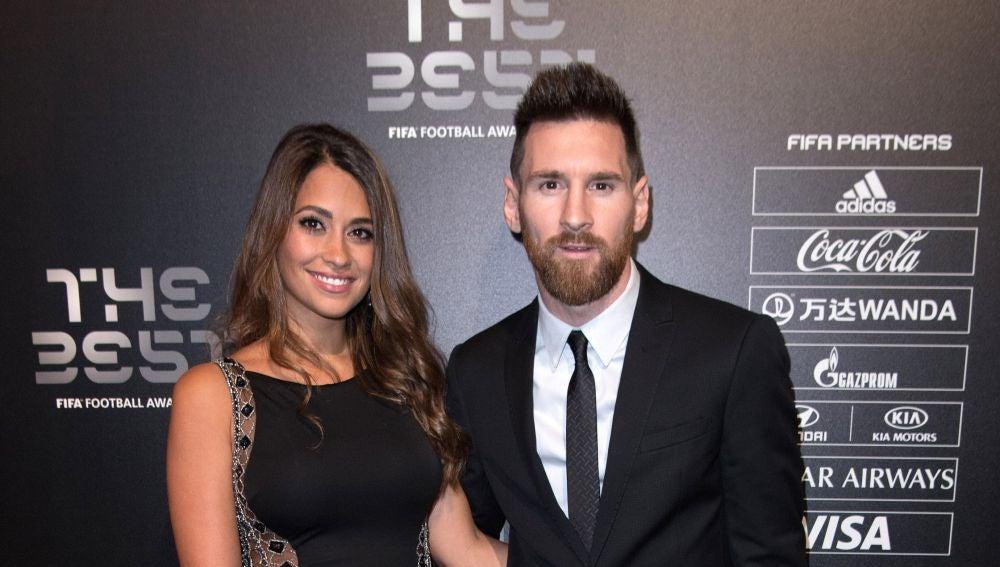 Messi y Antonella durante la gala The Best FIFA 2017 en Londres