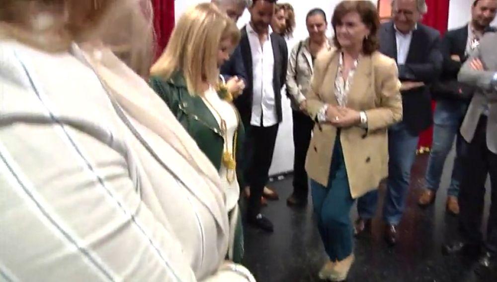 Carmen Calvo taconea en Jerez