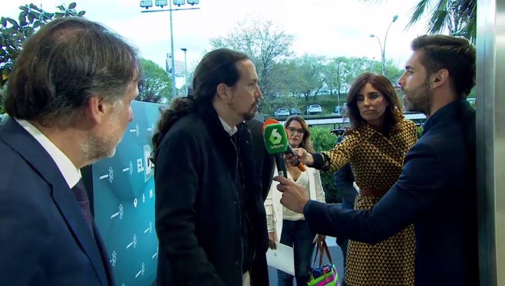 Las primeras palabras de Pablo Iglesias al llegar al debate decisivo de Atresmedia