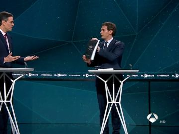 Sánchez y Rivera se regalan mutuamente la tesis del líder del PSOE y el libro sobre Santiago Abascal