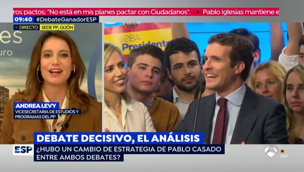Andrea Levy (PP) valora a Pablo Casado tras el debate