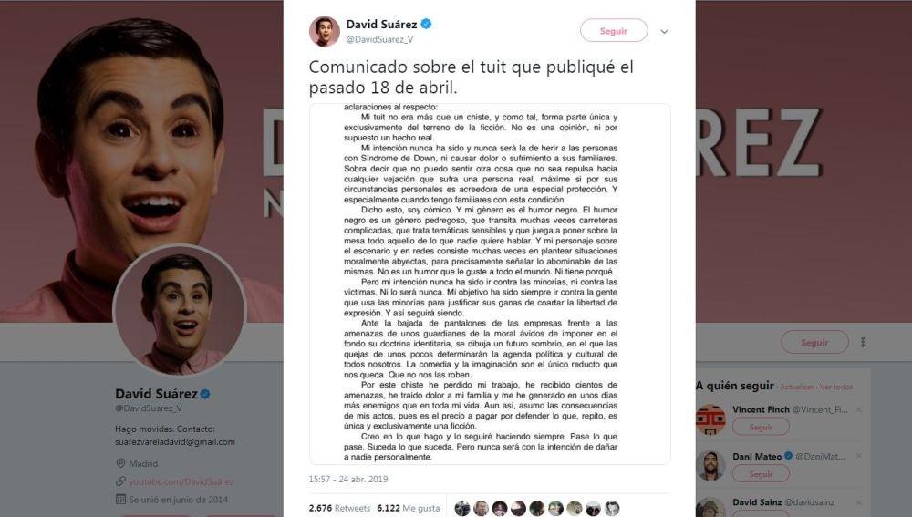 Comunicado de David Suárez