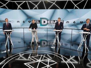 Los cuatro candidatos, en el debate de Atresmedia