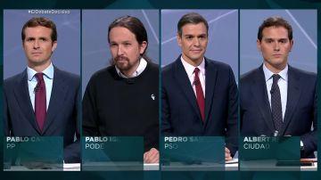 Casado, Iglesias, Sánchez y Rivera