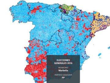 Mapa evolución del voto