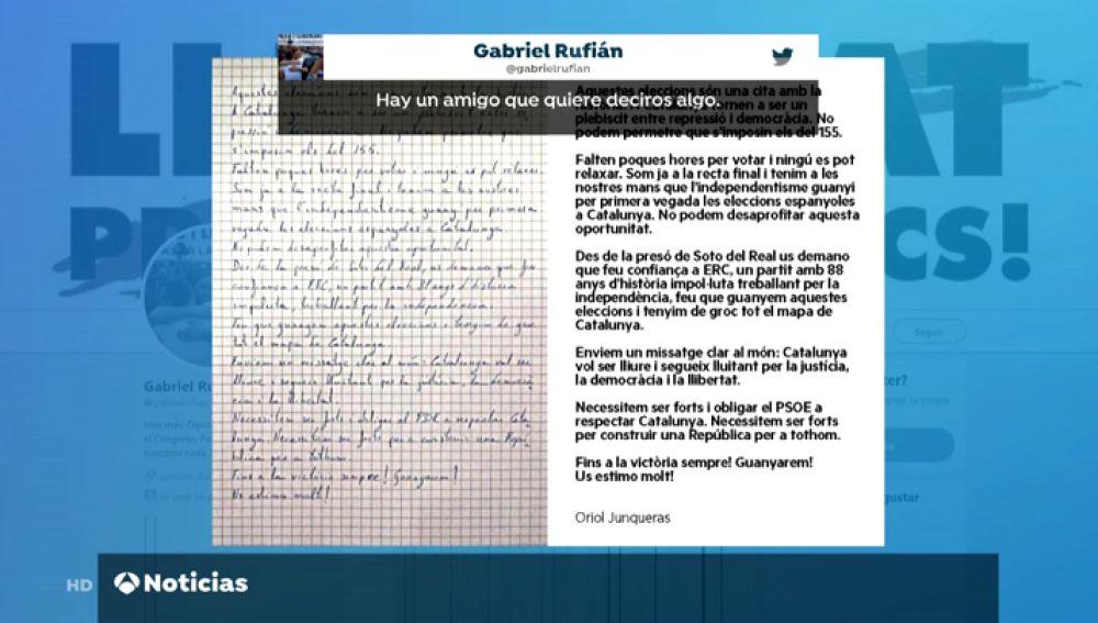 Rufián retuitea durante la jornada de reflexión una carta de Junqueras pidiendo que la gente apoye a ERC