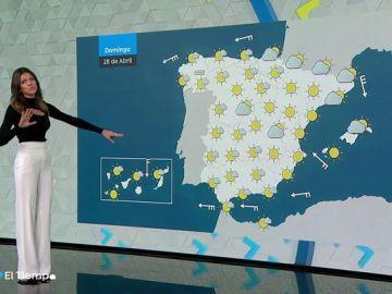 El domingo, temperaturas sin cambios en Mediterráneo y ascenso en el resto