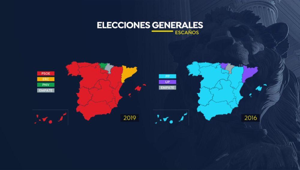 Comparación del mapa electoral de España
