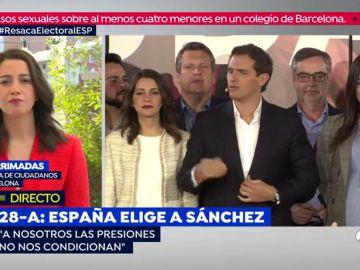 "Inés Arrimadas, sobre un pacto con el PSOE: ""Vamos a ser coherentes, ni un solo español nos ha votado para hacer a Sánchez presidente"""
