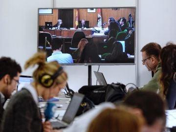 Sala de prensa del juicio por la muerte de Sara