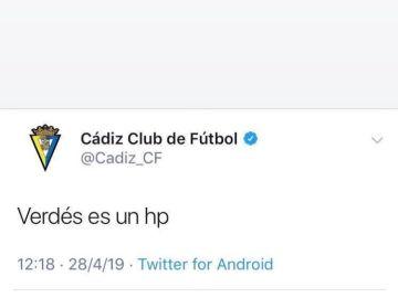 El tweet publicado por el Cádiz