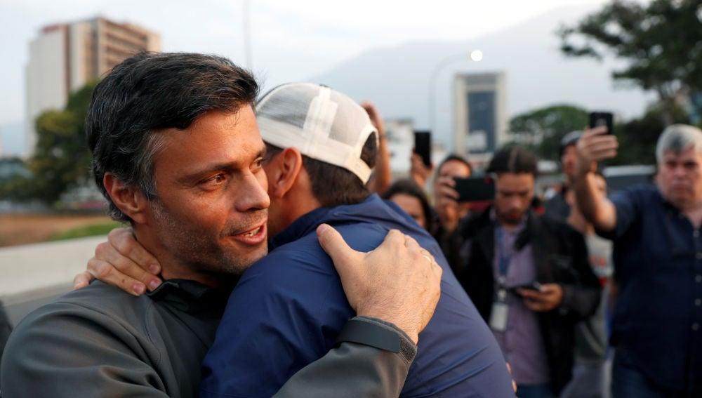 Leopoldo López tras ser liberado