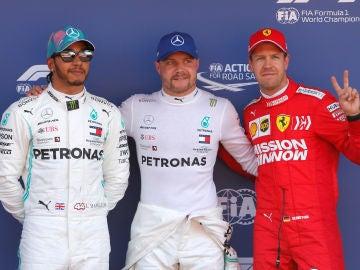 Hamilton, Bottas y Vettel, tras la clasificación del GP de España